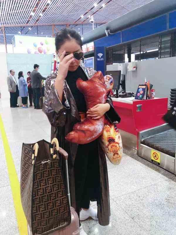 王菊机场竟携猪蹄抱枕